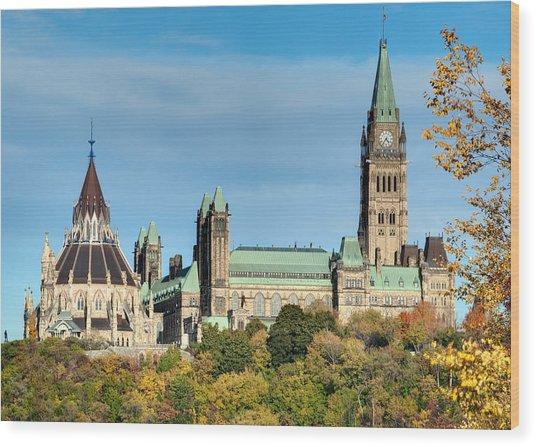 Parliament Hill In Autumn Wood Print
