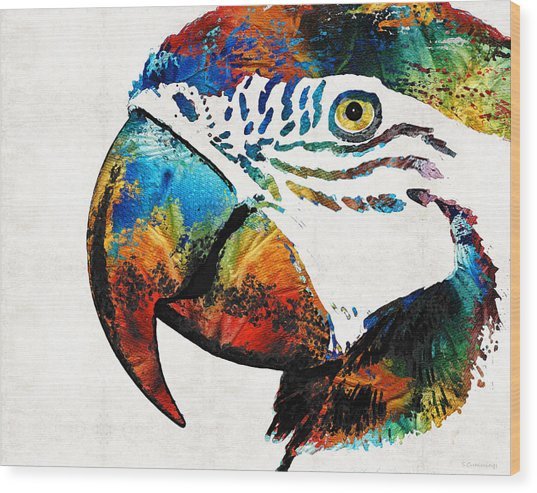 Parrot Head Art By Sharon Cummings Wood Print