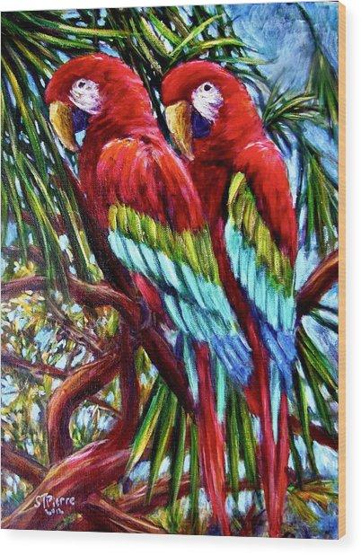 Parrot Pals Wood Print by Sebastian Pierre