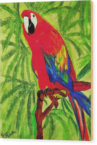 Parrot In Paradise Wood Print