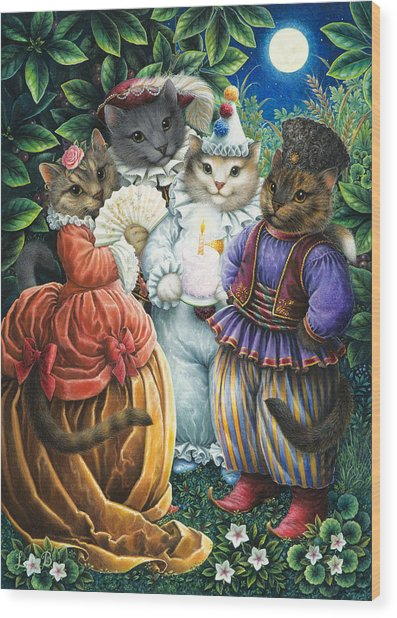Party Cats Wood Print