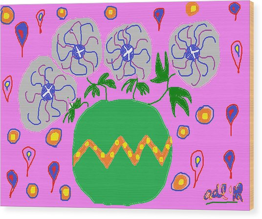 Party Flowers Wood Print