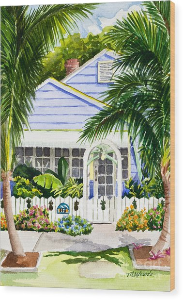Pass-a-grille Cottage Watercolor Wood Print