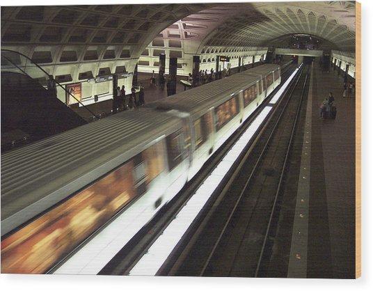 Passing Metro Train Wood Print