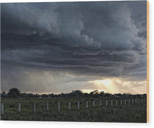 Passing Storm Wood Print by Heather Provan