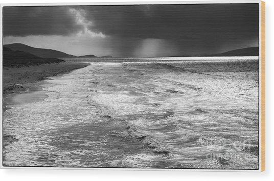 Passing Storm Luskentyre Wood Print by George Hodlin