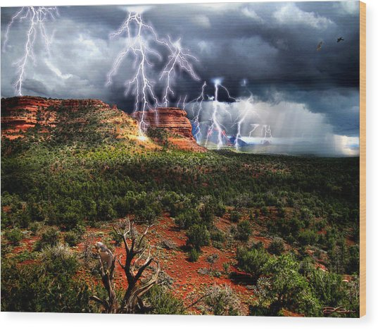 Passing Storm Near Sedona Arizona Wood Print by Ric Soulen
