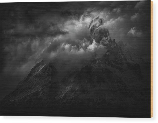 Passing Storm Over The Paine Massif Wood Print