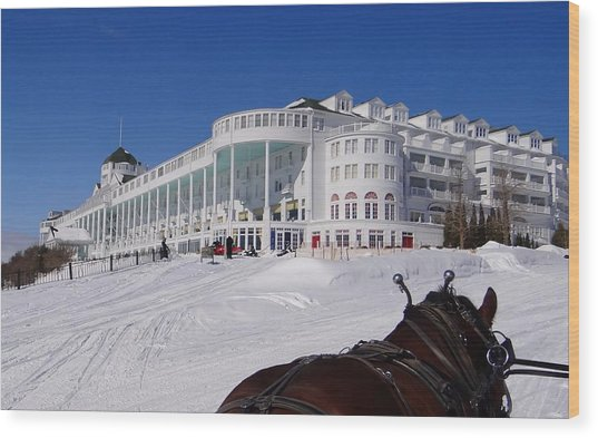 Passing The Grand Hotel Wood Print