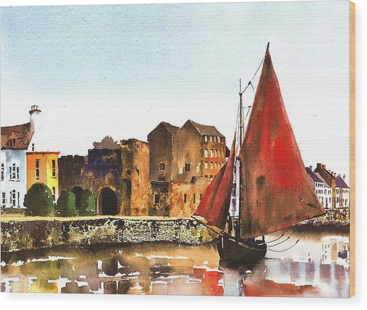Passing The Spanish Arch Galway Wood Print