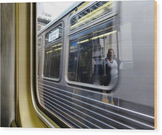 Passing Trains Wood Print