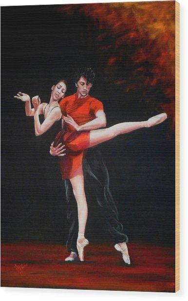 Passion In Red Wood Print by Maren Jeskanen