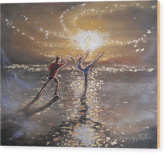 Passion To Perform Ice Skaters Golden Moment Wood Print