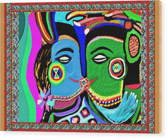Passionate Kiss Kamasutra Khajuraho India Cave Style Art Navinjoshi Rights Managed Images Graphic De Wood Print