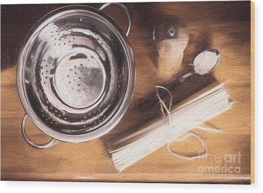 Pasta Preparation. Vintage Photo Sketch Wood Print
