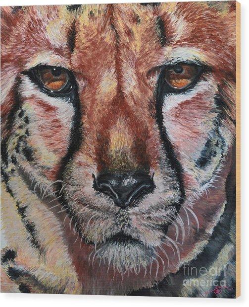 Pastel Cheetah Wood Print by Ann Marie Chaffin