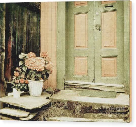 Pastel Colored Doorstep Wood Print