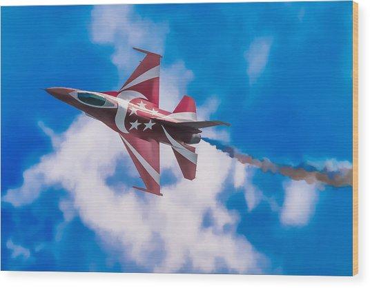 Pastel F-16 Wood Print