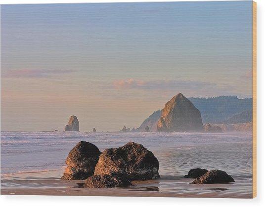 Pastel Haystack Rock Wood Print