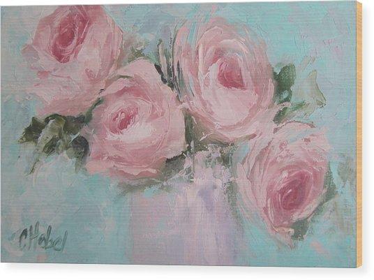 Pastel Pink Roses Painting Wood Print