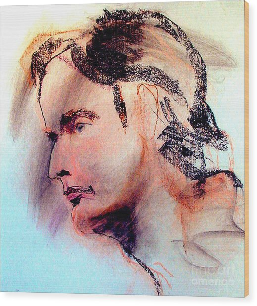 Pastel Portrait Of A Man Wood Print
