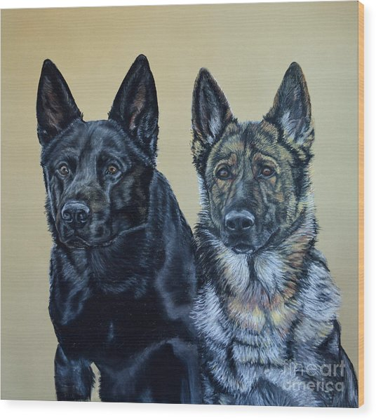 Pastel Portrait Of Two German Shepherds Wood Print by Ann Marie Chaffin