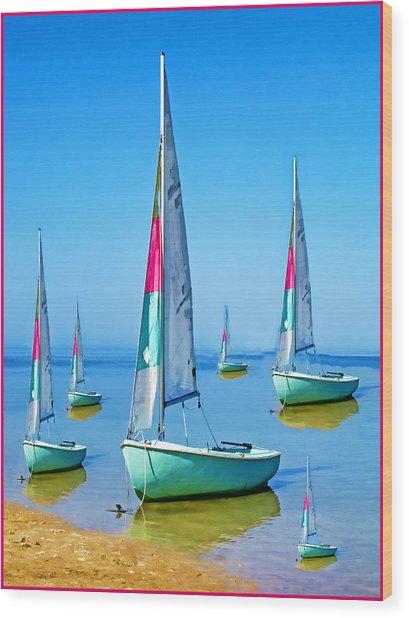 Pastel Sailboats Wood Print