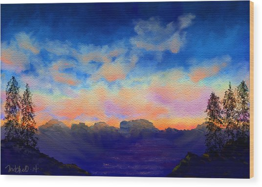 Pastel Sky Wood Print by Kerry Mitchell