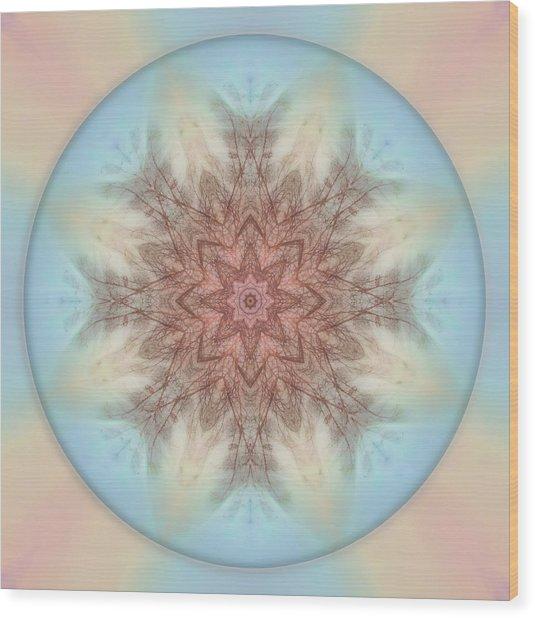 Pastel Sky Mandala Wood Print
