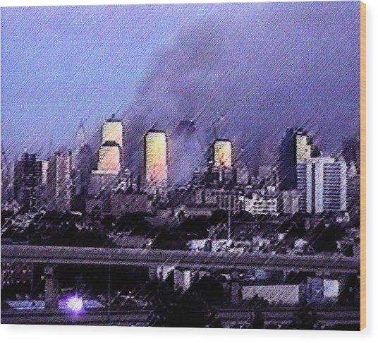Pastel Sunset On Ground Zero Wood Print
