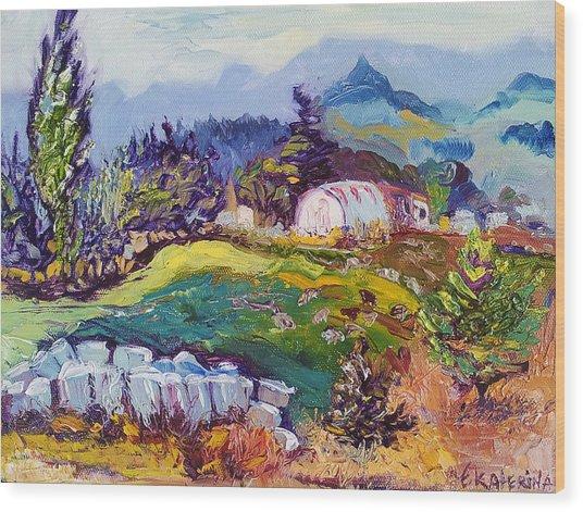 Pastures Landscape Oil Painting Wood Print