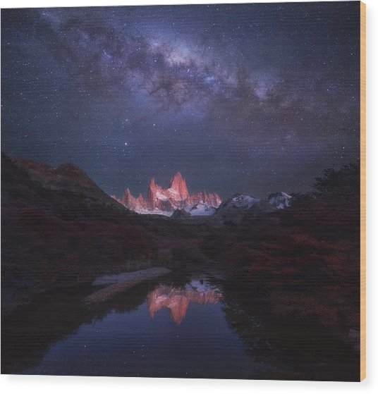 Patagonia Autumn Night Wood Print by Yan Zhang