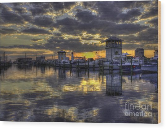 Patches In The Harbor Wood Print