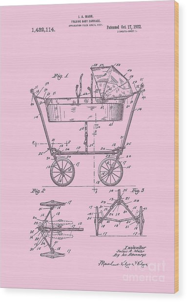 Patent Art Baby Carriage 1922 Mahr Design Pink Wood Print