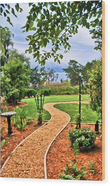 Garden Path To Wild Marsh Wood Print