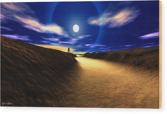 Path To The Moon Wood Print