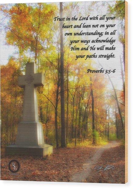 Pathway Cross Wood Print