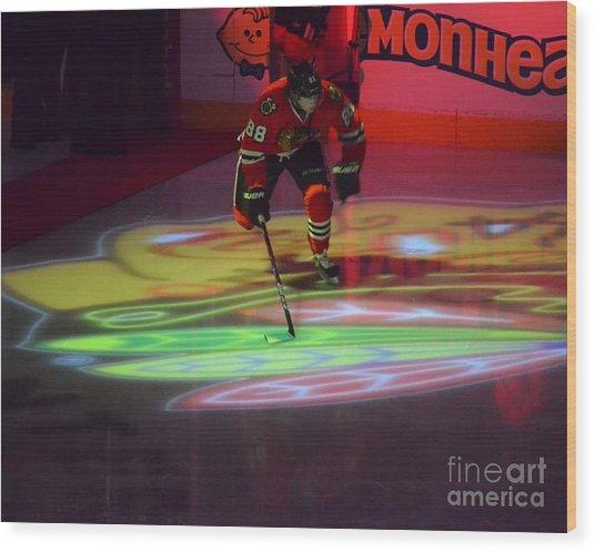 Patrick Kane Takes The Ice Wood Print
