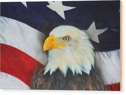 Patriotic American Flag And Eagle Wood Print