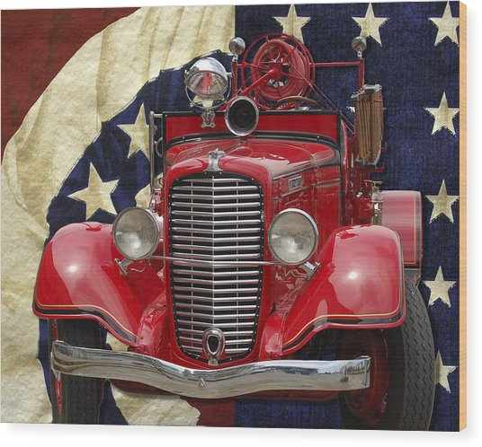 Patriotic Fire Truck Wood Print
