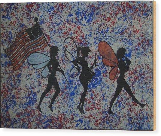 Patriotic Pixie Fairy Wood Print by Tim Casner