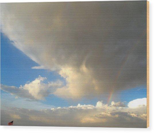Patriotic Rainbow Clouds Wood Print