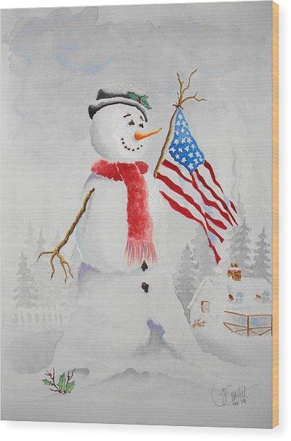Patriotic Snowman Wood Print