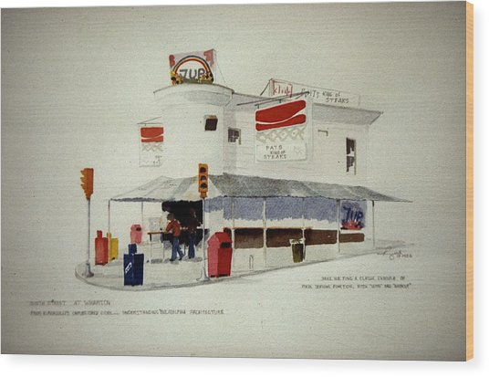 Pat's Steaks Wood Print