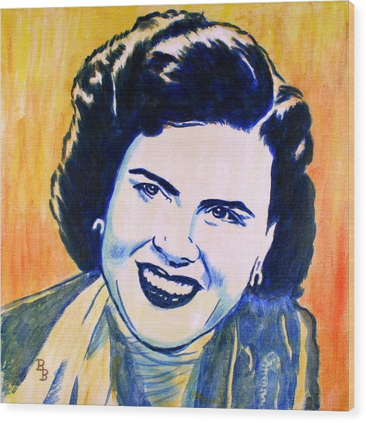 Patsy Cline Pop Art Painting Wood Print