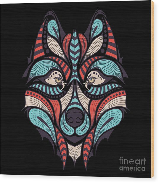 Patterned Colored Head Of The Wolf Wood Print