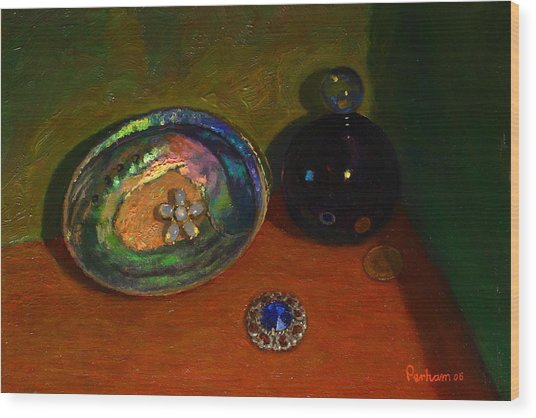 Paua With Scent Bottle. Wood Print by Terry Perham