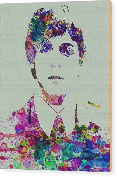 Paul Mccartney Watercolor Wood Print