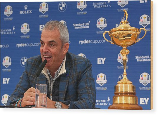 Paul Mcginley Press Conference - 2014 Ryder Cup Wood Print by Mike Ehrmann