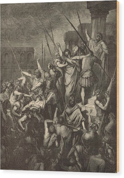 Paul Menaced By The Jews Wood Print by Antique Engravings